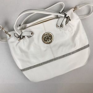 Beautiful White Shoulder Bag with Gold Hardware
